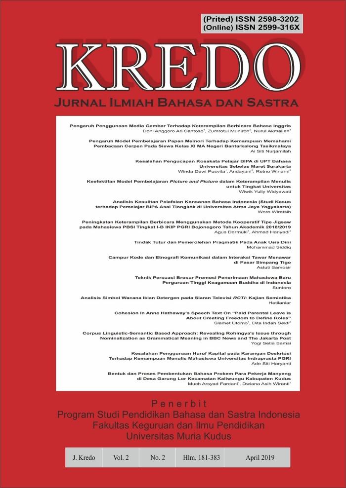 KREDO : Jurnal Ilmiah Bahasa dan Sastra